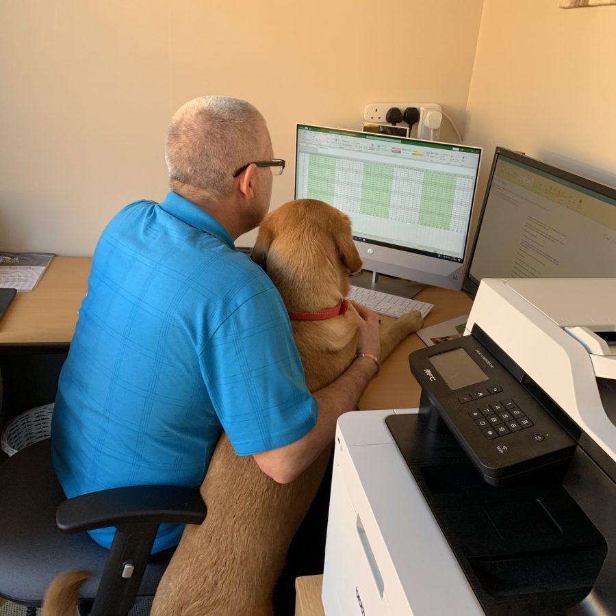 John & Ida working at the computer